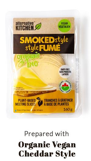 prepared with Organic Vegan Cheddar