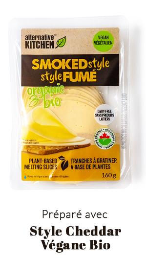 préparé avec fromage végane style cheddar