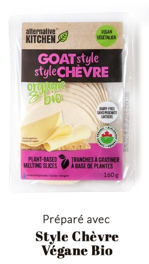 préparé avec fromage végane style chèvre