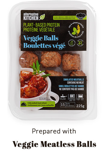 prepared with Alternative Kitchen Veggie Meatballs
