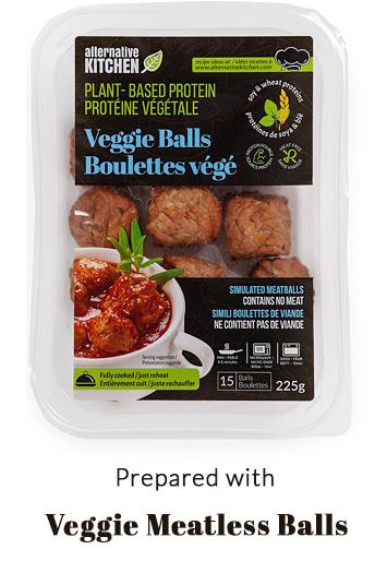 prepared with Alternative Kitchen Veggie Meatballs