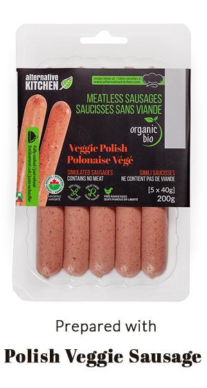 prepared with Polish Veggie Sausage