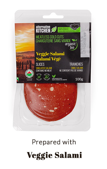 prepared with veggie salami