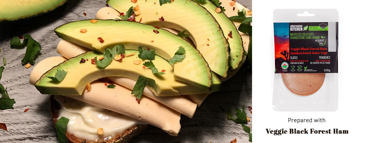 Avocado & Veggie Black Forest Ham Toast With Microgreens