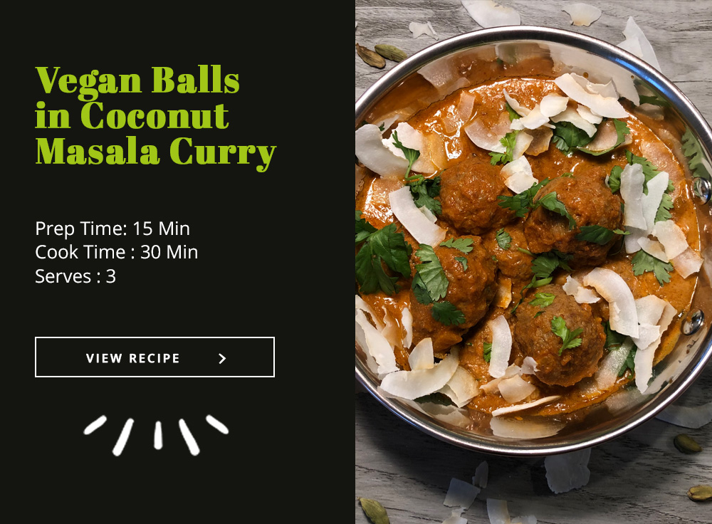 Vegan Balls in Coconut Masala Curry