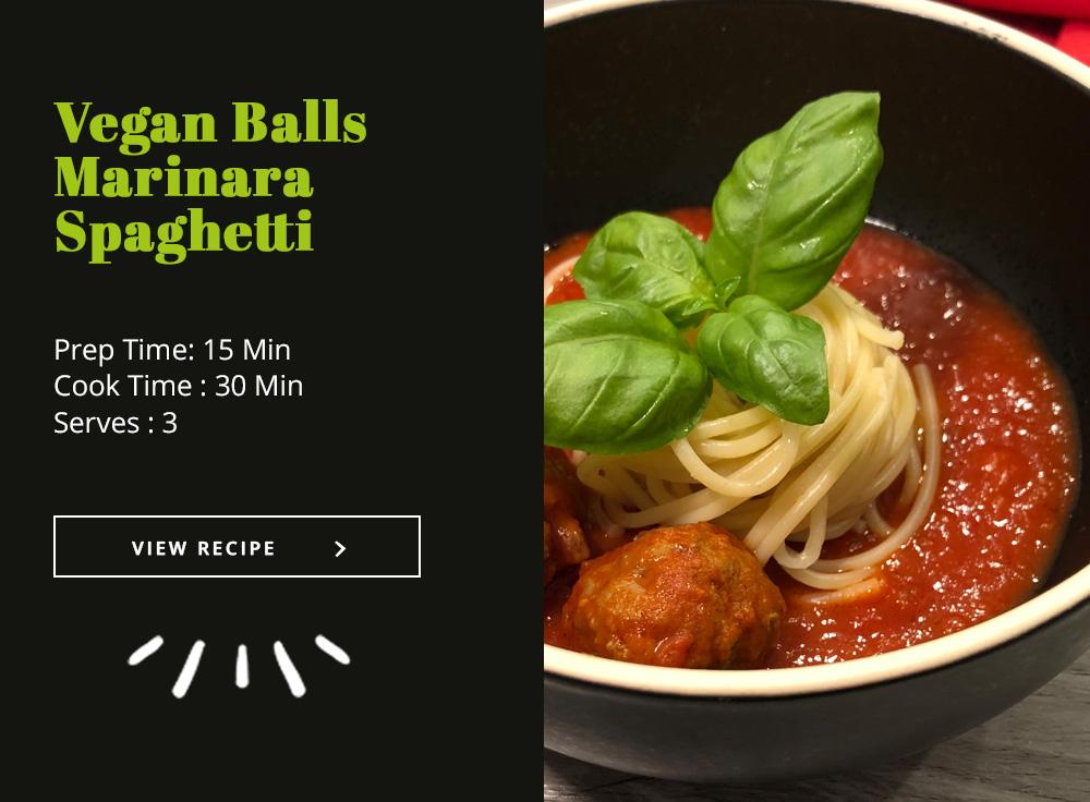 Vegan Balls Marinara Spaghetti