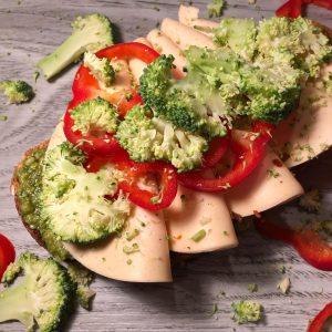 Crumbled Broccoli Tartine with Veggie Chicken Ham & Green Pesto