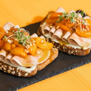Veggie Ham and Honey Glazed Apricot Toast