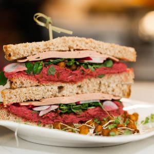 Veggie Ham Sandwich with Beet Hummus