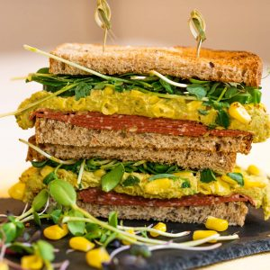 Veggie Salami & Sweet Pea Hummus Sandwich