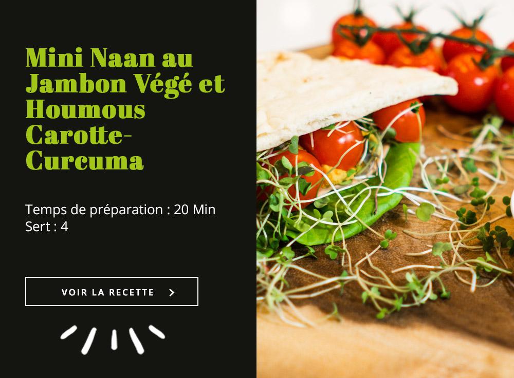 Mini Naan au Jambon Végé et Houmous Carotte-Curcuma