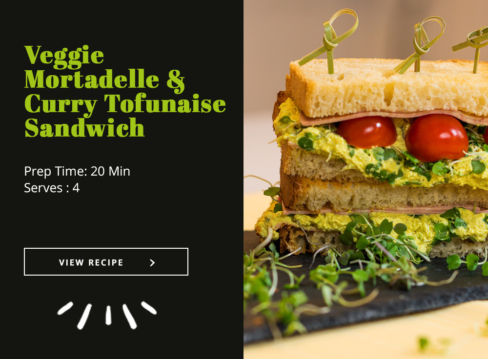 Veggie Mortadelle & Curry Tofunaise Sandwich
