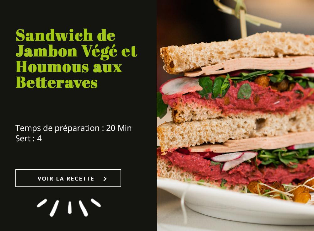 Sandwich de Jambon Végé et Houmous aux Betteraves