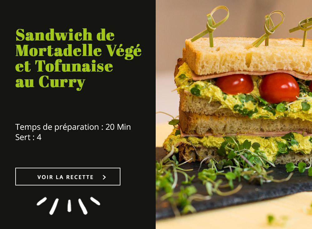 Sandwich de Mortadelle Végé et Tofunaise au Curry