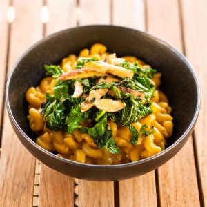 Vegan Mac & Cheese + Kale & Shitake Topping