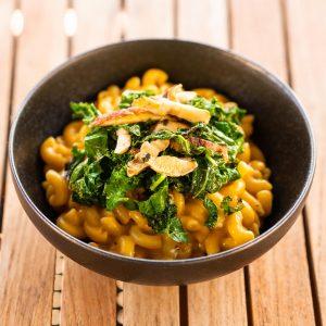Vegan Mac & Cheese + Kale & Shitake Topping
