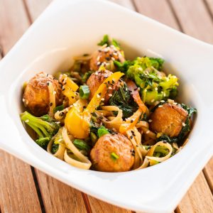 Teriyaki Noodles & Vegan Meatballs