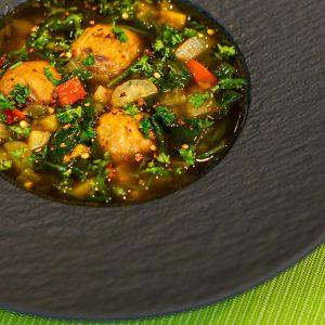 Vegan Meatballs + Kale, Spinach & Green Pea Broth