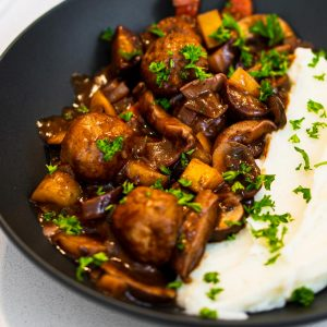 Vegan Meatballs and Mushrooms Bourguignon