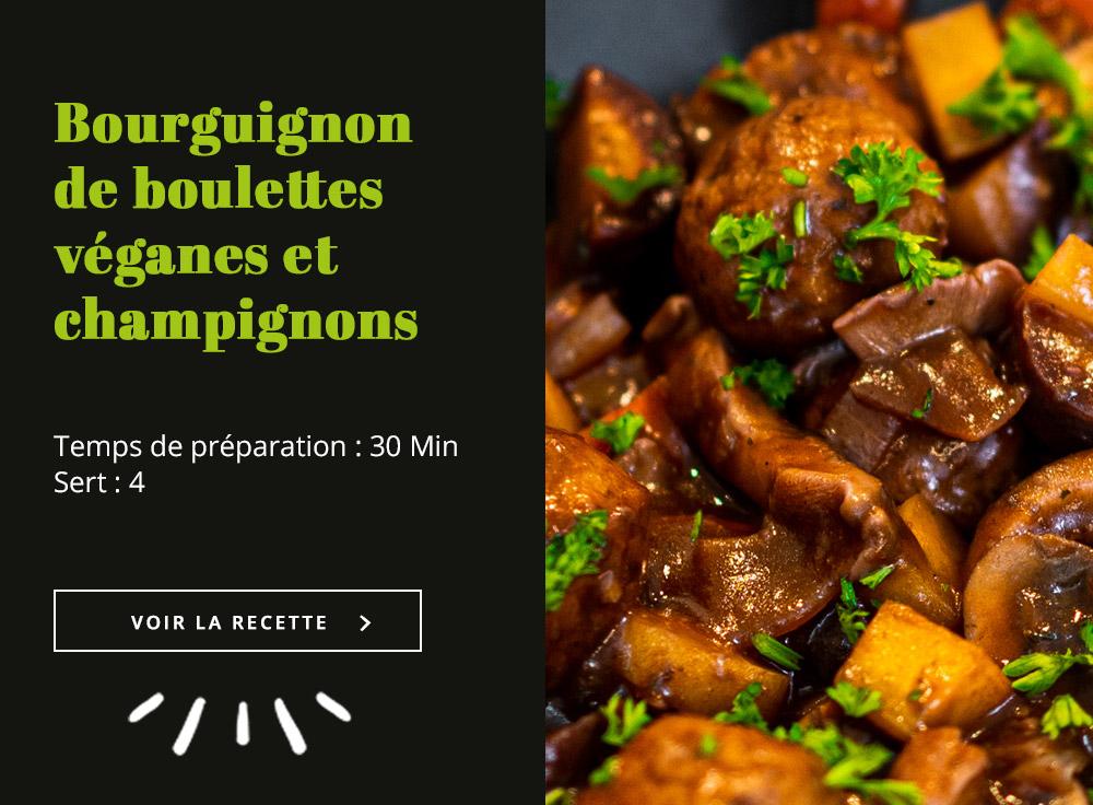 Bourguignon de boulettes véganes et champignons